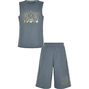 Boys navy foil print vest pyjama set