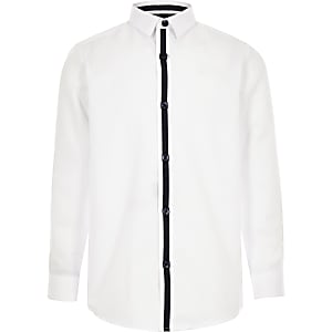 Boys white RI crest shirt