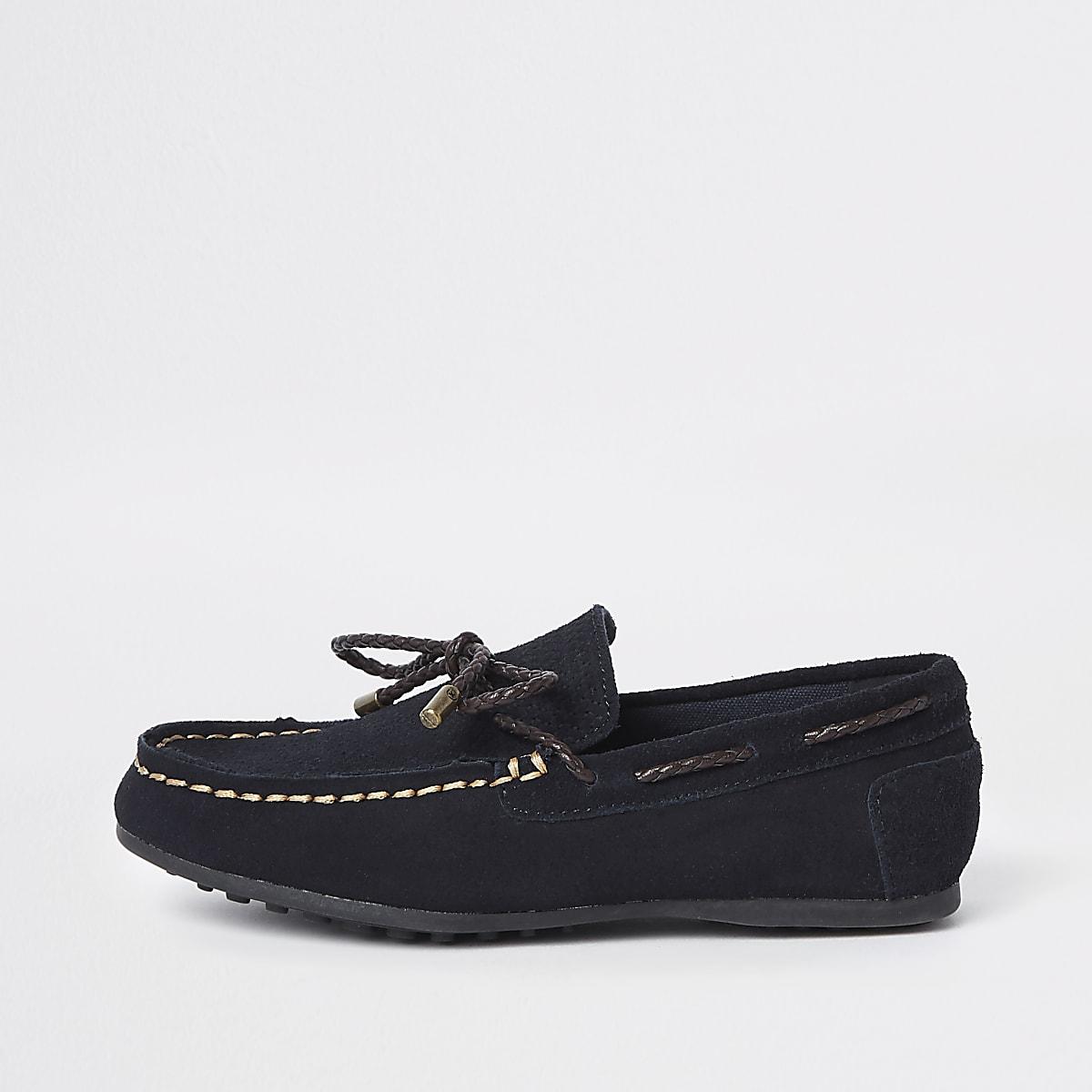 Marineblauwe loafers met strik voor jongens