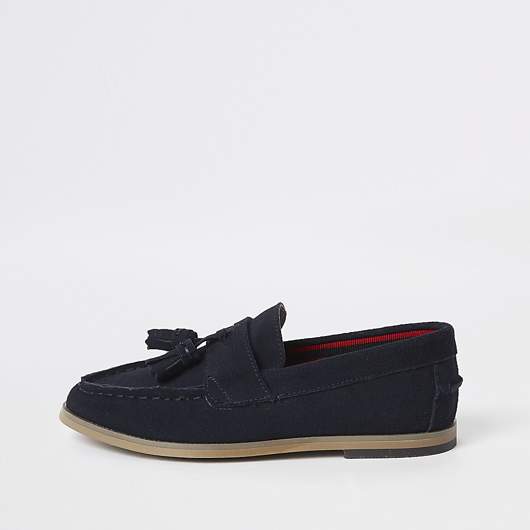 Boys navy tassel loafers