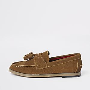 Bruine loafers met kwastje voor jongens