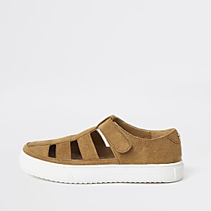 Boys light brown caged sandal