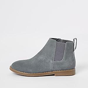Boys grey suede chelsea boots