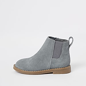 Mini - Grijze suède chelsea boots voor jongens