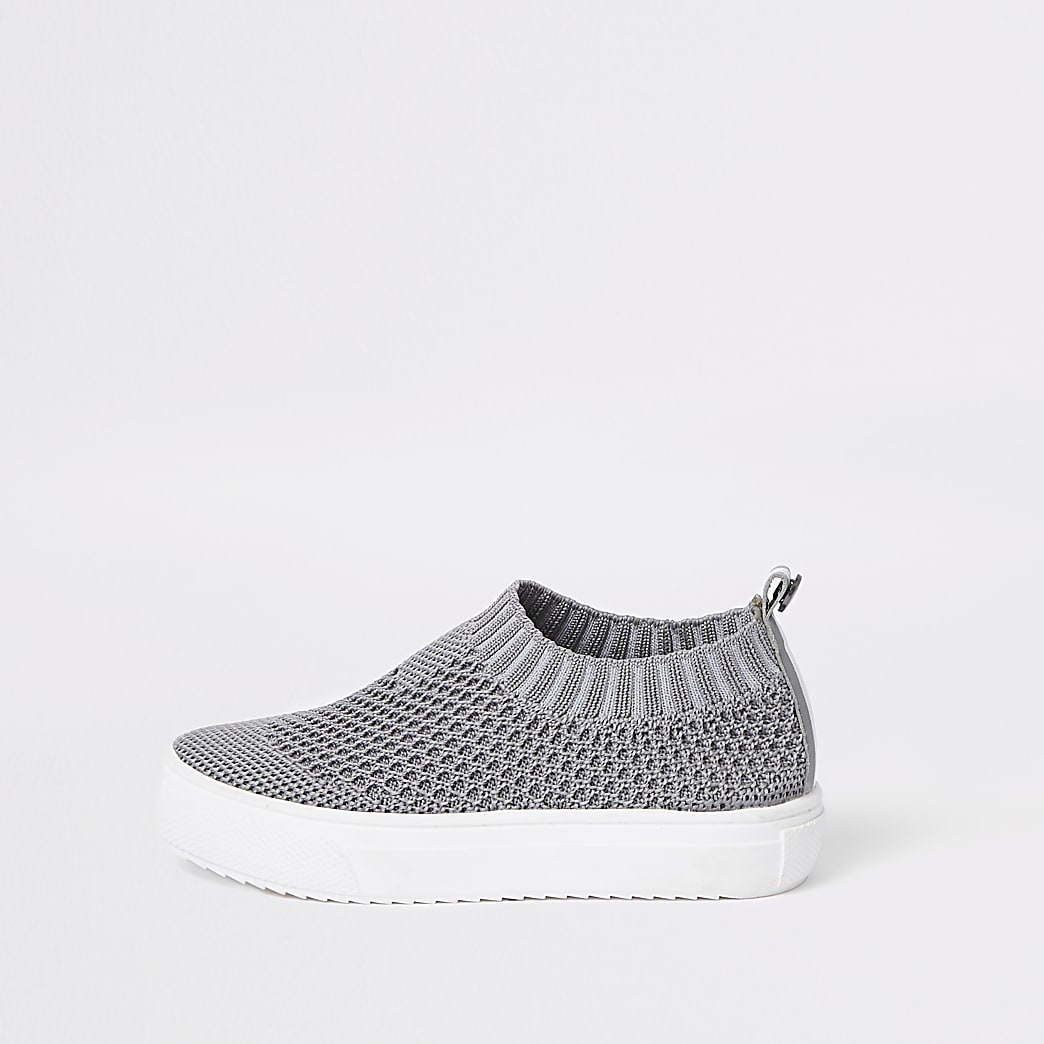 Mini boys grey mesh sock plimsolls