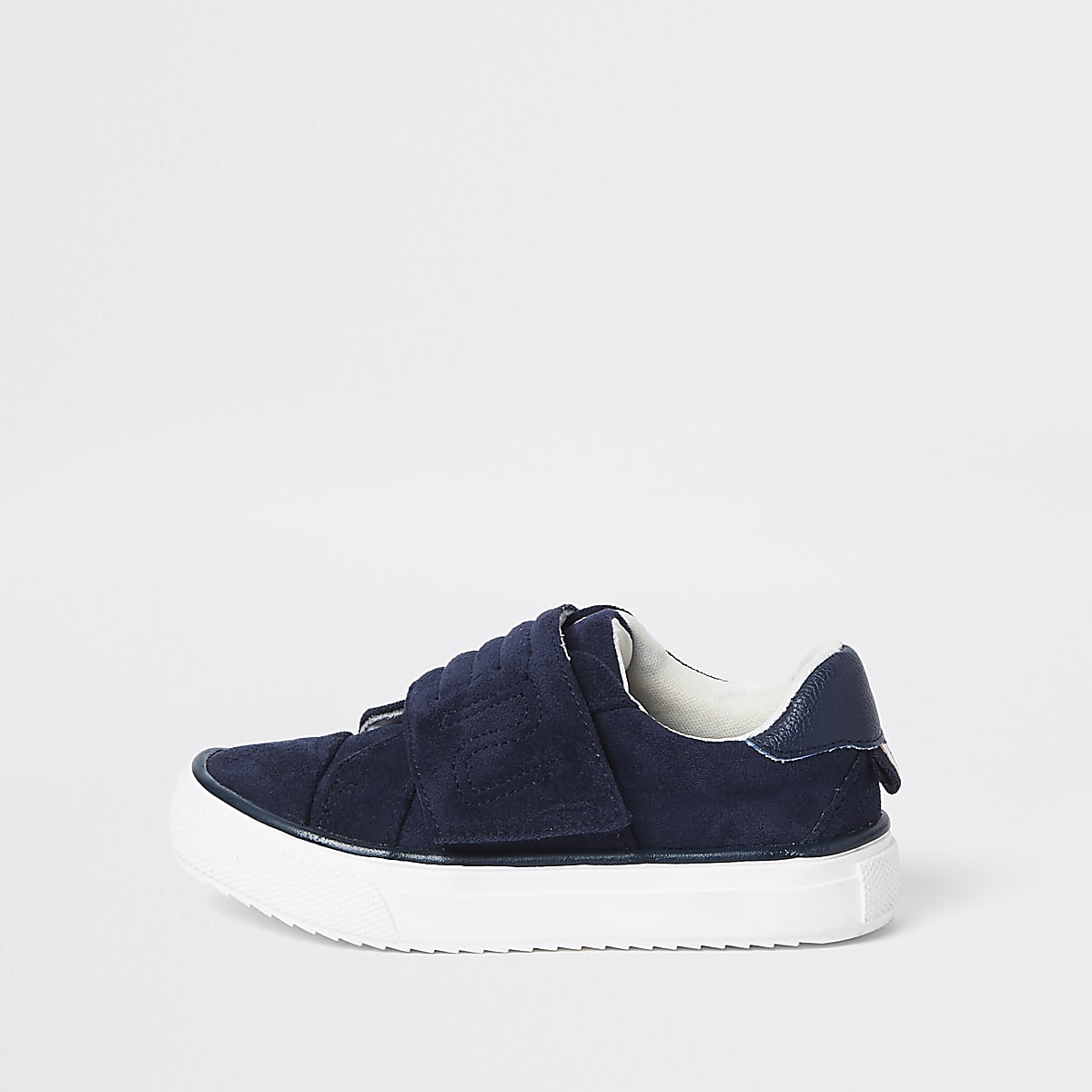 Mini boys navy RI Velcro plimsolls