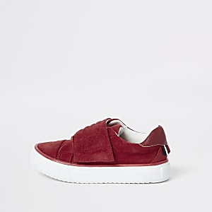 Mini kids red RI velcro plimsolls