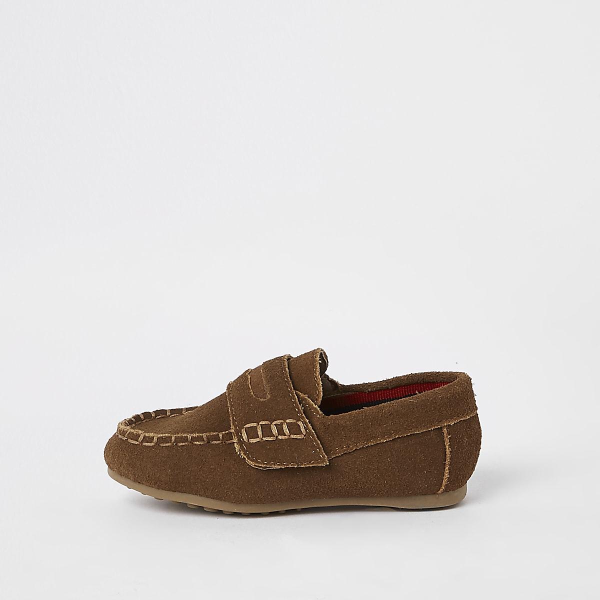 Mini - Lichtbruine loafers met klittenband voor jongens