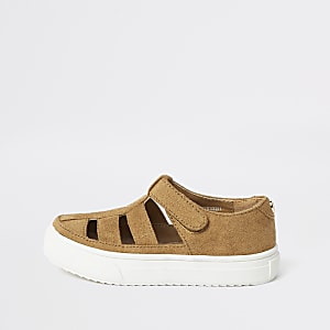 Mini boys light brown caged sandal