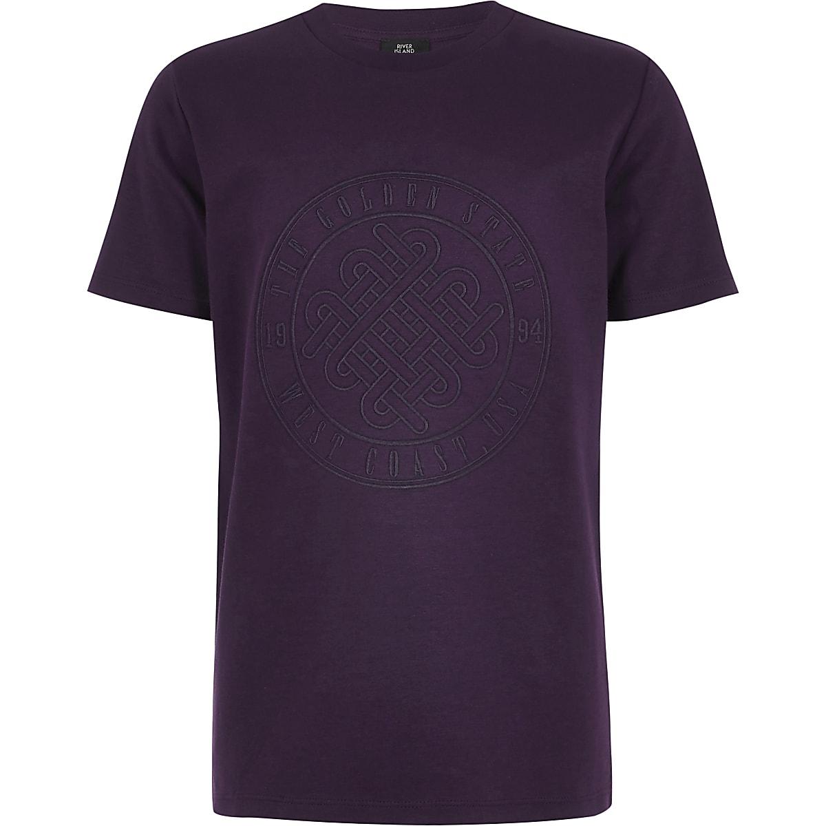 Boys purple 'Golden state' T-shirt