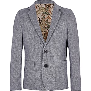 Boys grey floral lined blazer
