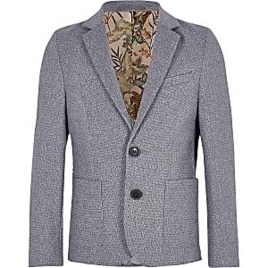 Blazer gris avec doublure à fleurs pour garçon