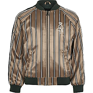 Boys pink stripe RI bomber jacket