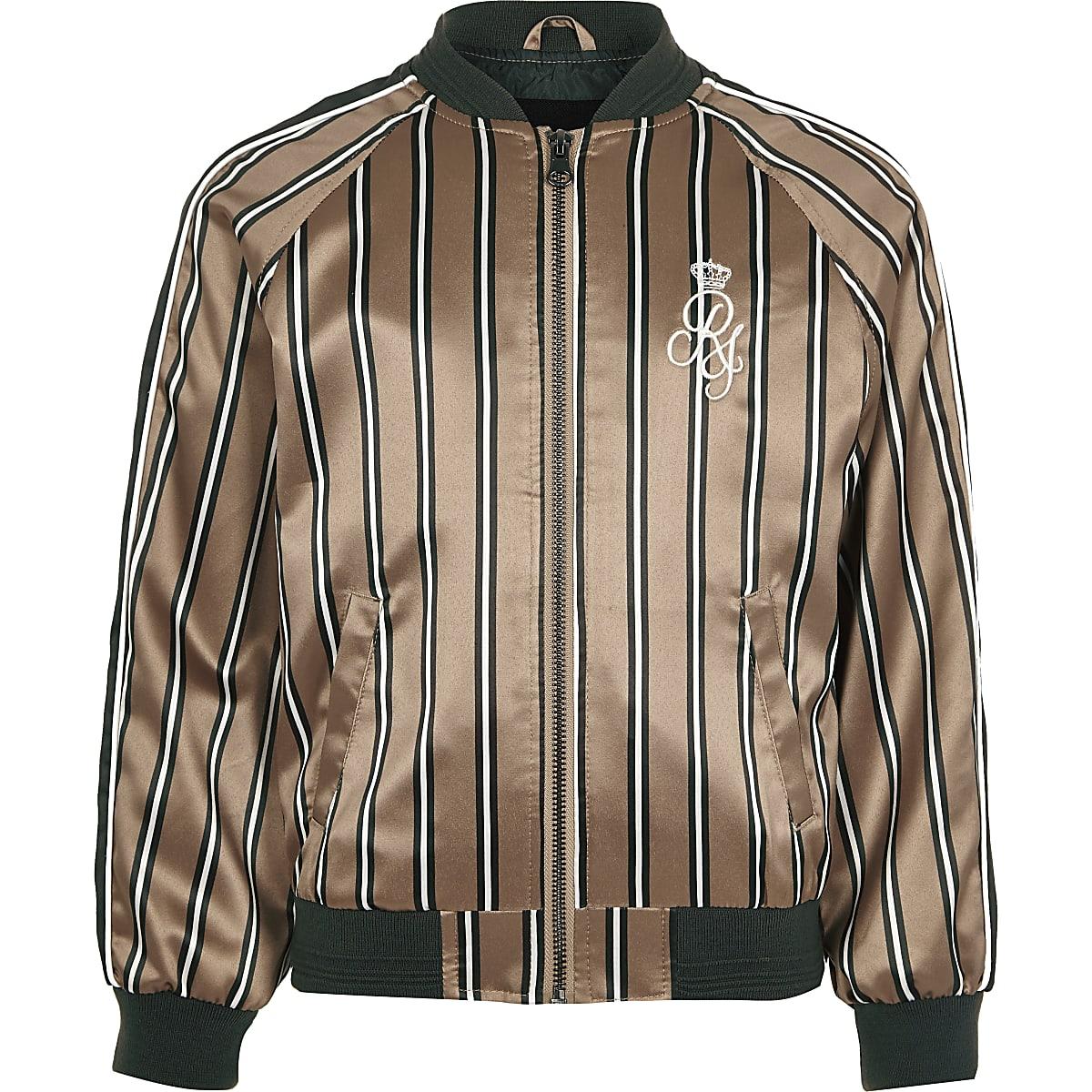 Boys pink stripe RI bomber jacket