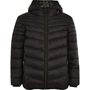 Zwarte gewatteerde jas voor jongens