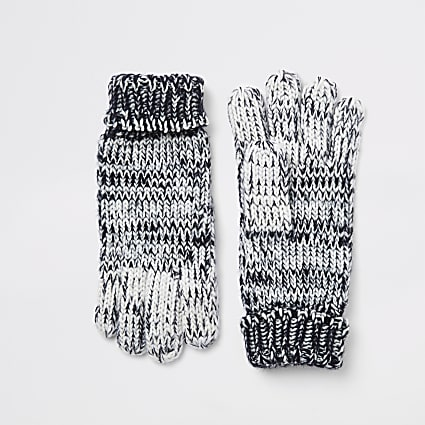 Boys navy ombre knitted gloves