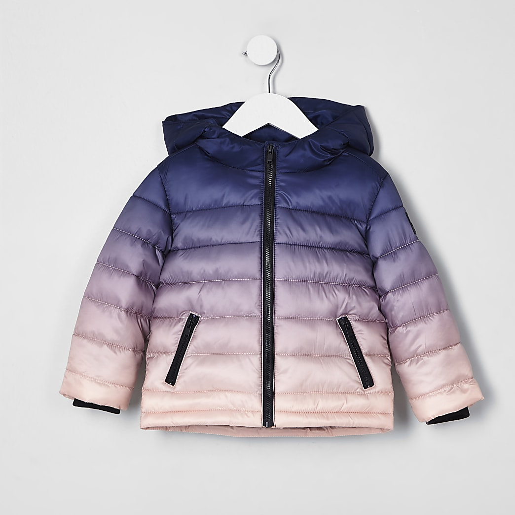 Mini boys navy ombre puffer jacket