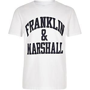 Boys Franklin & Marshall white logo T-shirt