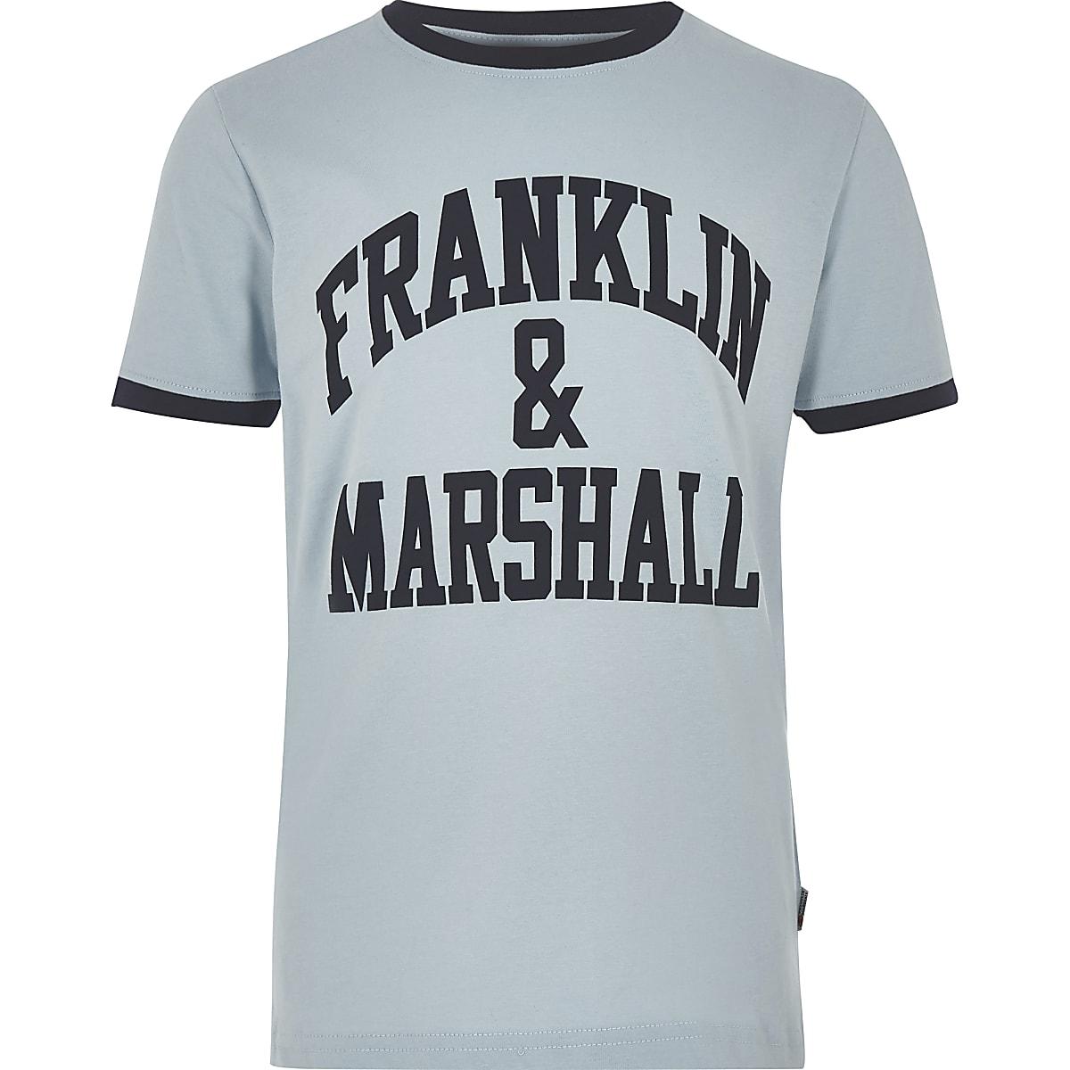 Franklin & Marshall - Blauw T-shirt met logo voor jongens