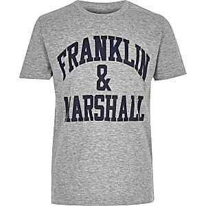 Boys Franklin & Marshall grey logo T-shirt
