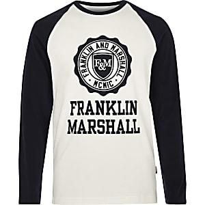 Franklin & Marshall – T-shirt blanc à manches raglan pour garçon