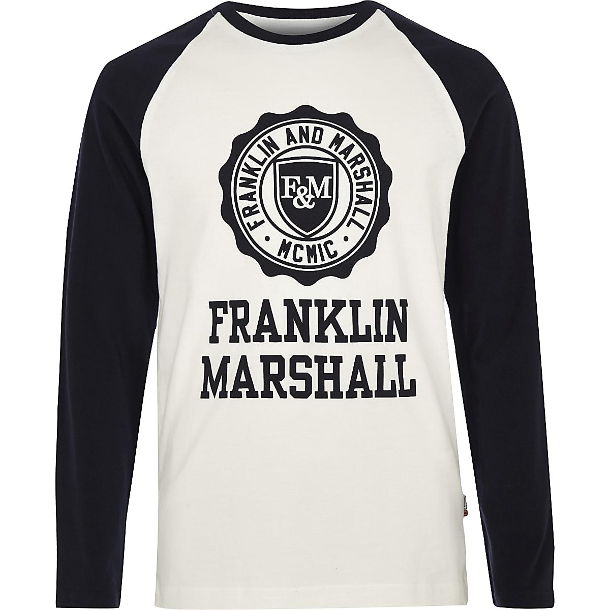 Franklin & Marshall - Wit T-shirt met raglan mouwen voor jongens