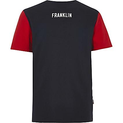 Boys navy Franklin & Marshall block T-shirt