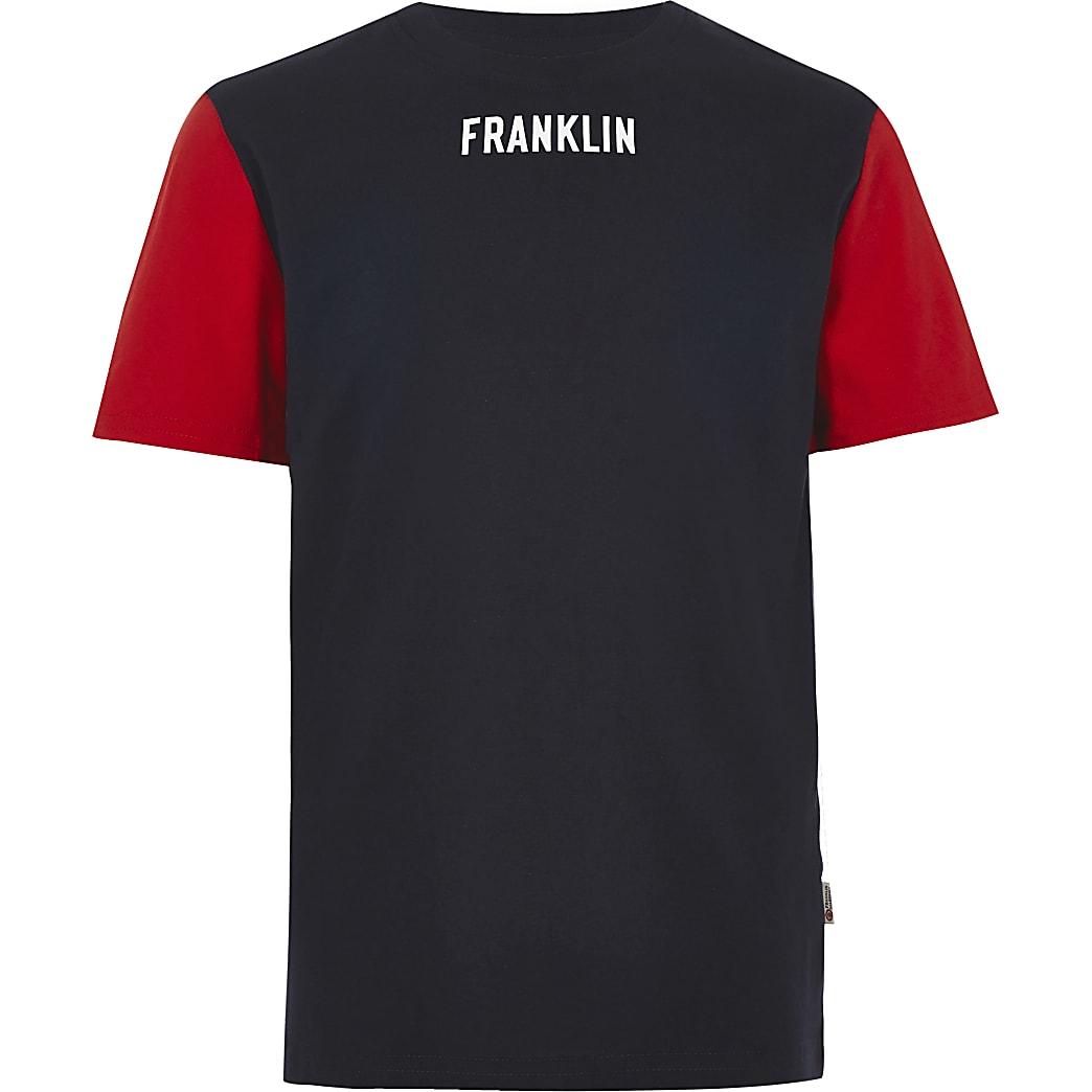Franklin & Marshall – T-shirt colour block bleu marine pour garçon