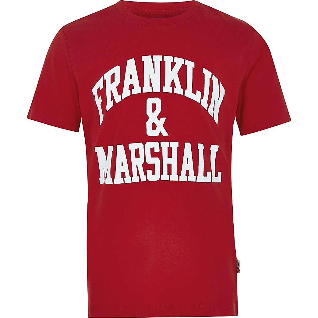 Boys red Franklin & Marshall logo T-shirt