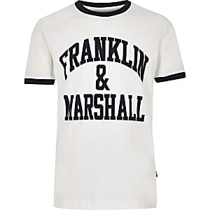 Boys white Franklin & Marshall tipped T-shirt