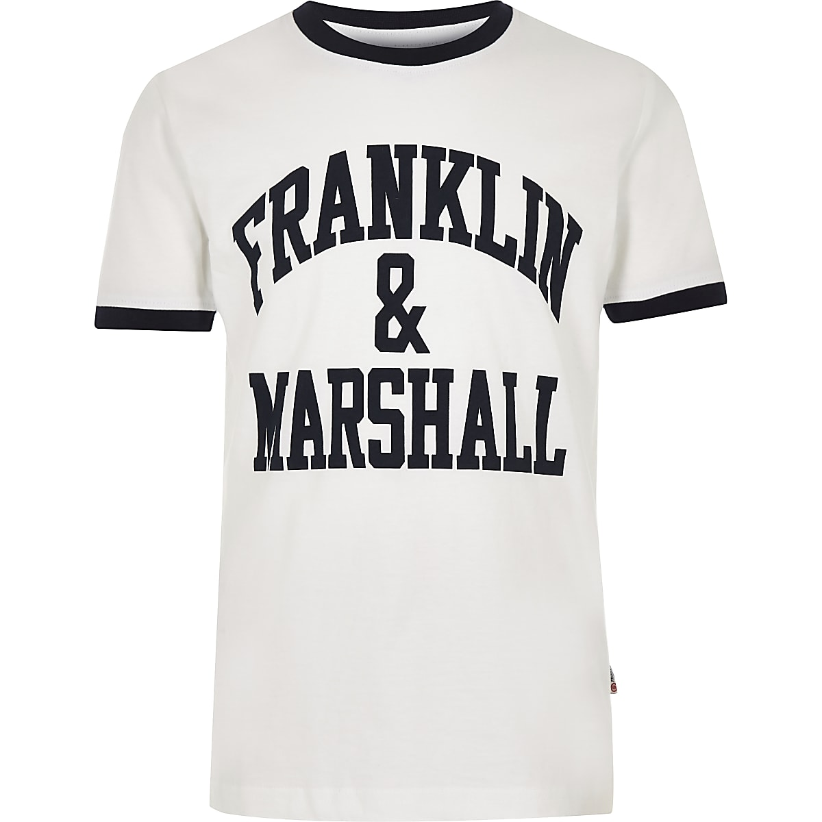 Boys white Franklin & Marshall tipped T-shirt