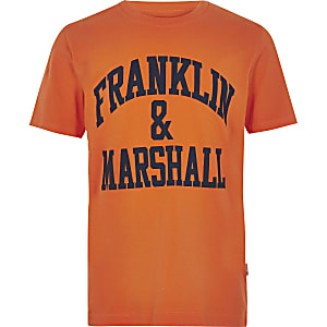 Boys orange Franklin & Marshall logo T-shirt