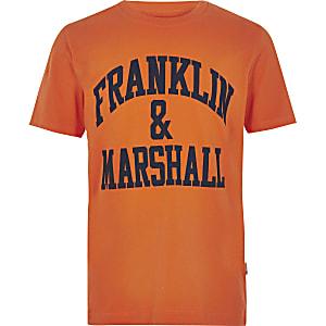 Franklin & Marshall - Oranje T-shirt met logo voor jongens