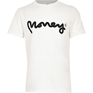 Money Clothing – Weißes T-Shirt mit Logo