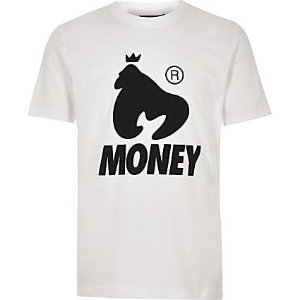 Boys white Money Clothing logo T-shirt