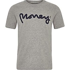 Money Clothing - Grijs T-shirt met logo voor jongens