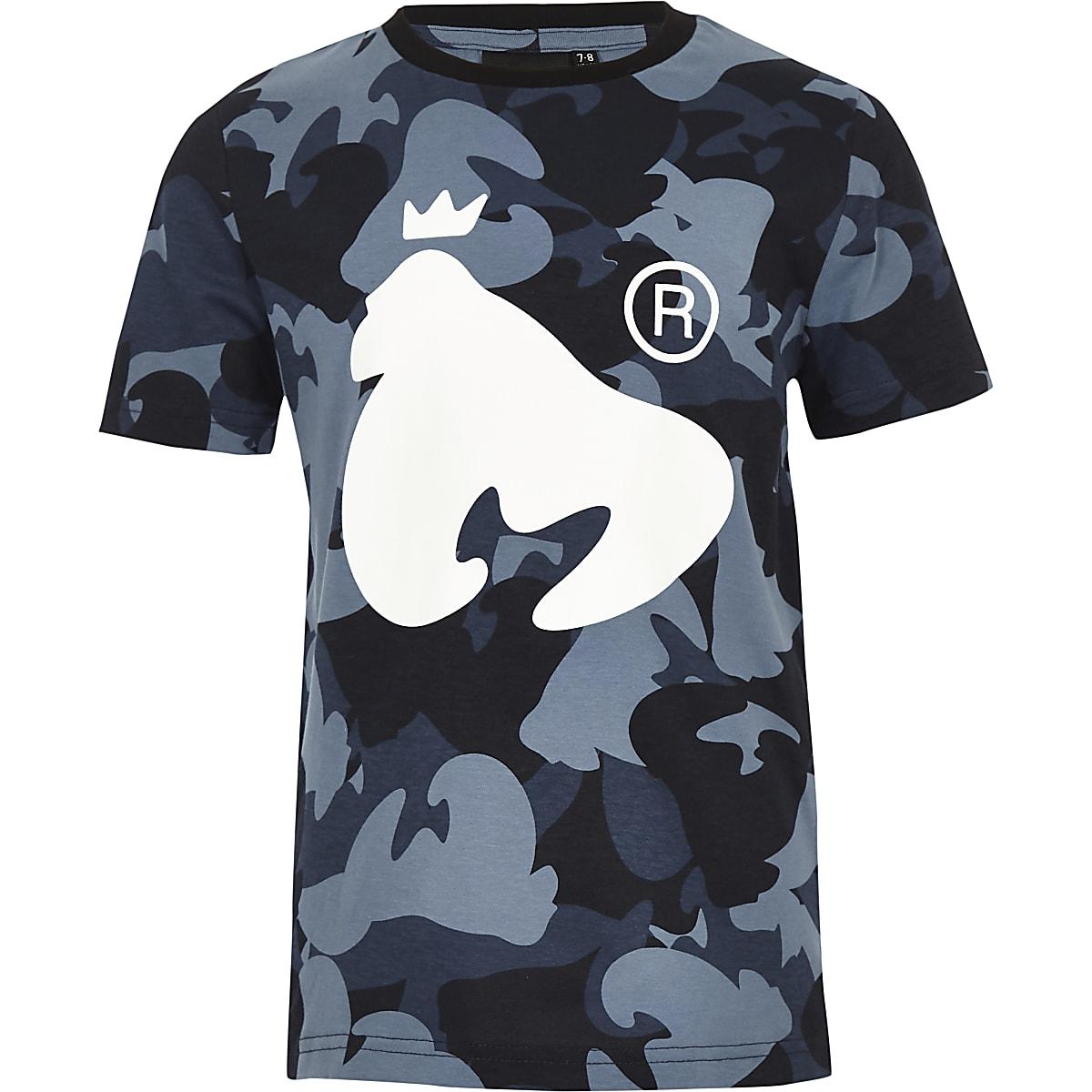 Money Clothing - Marineblauw T-shirt met camouflageprint voor jongens
