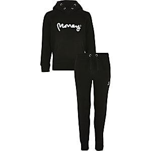 Boys black Money hoodie outfit