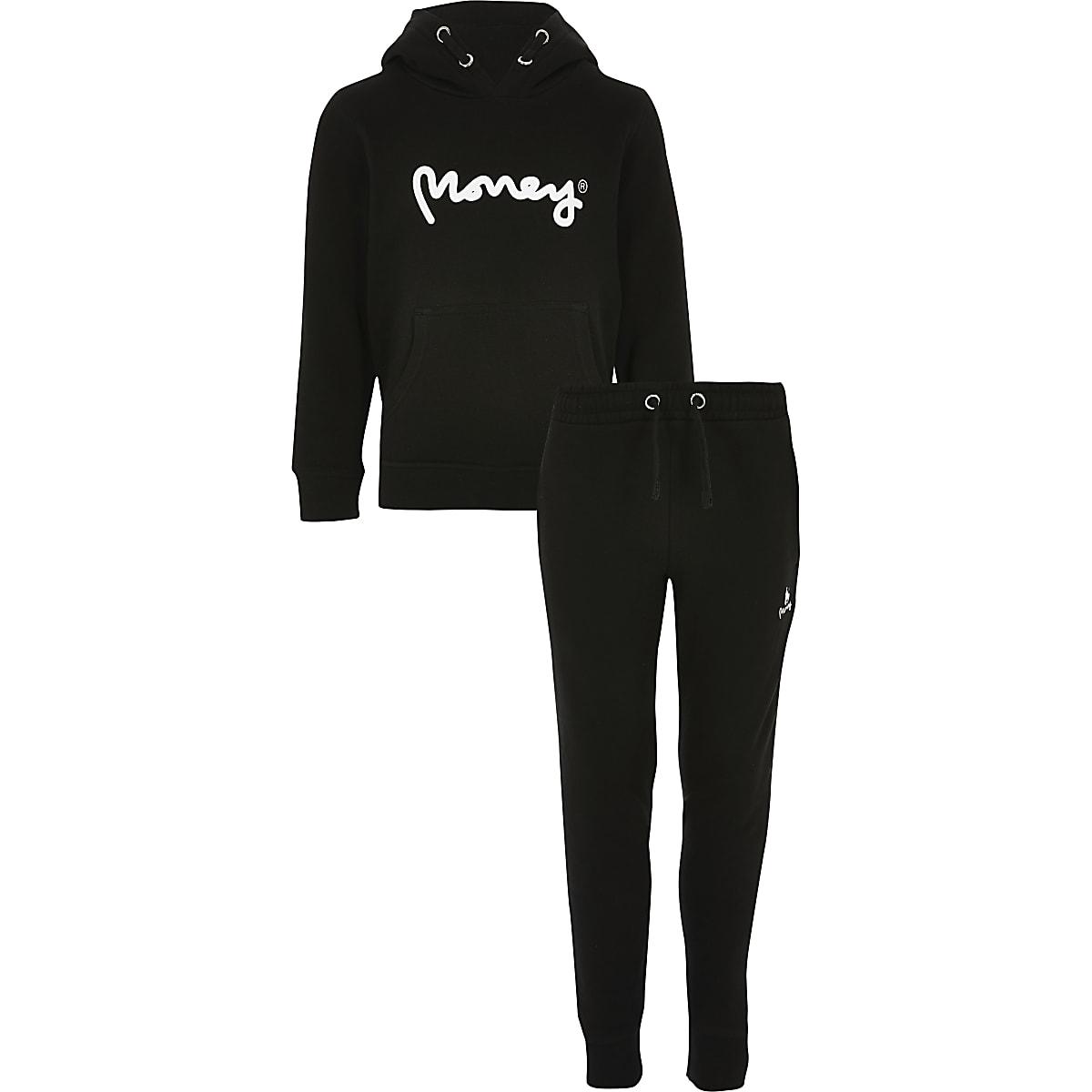 Boys black Money hoodie outfit