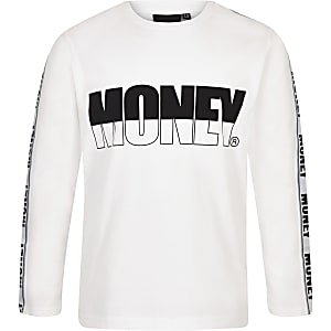 Boys Money white long sleeve T-shirt