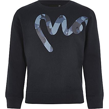 Boys Money navy crew neck sweatshirt