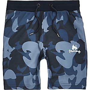 Marineblaue Jersey-Shorts mit Camouflage-Muster