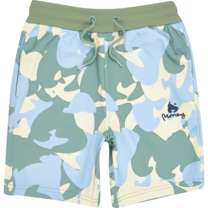 Boys yellow Money camo jersey shorts