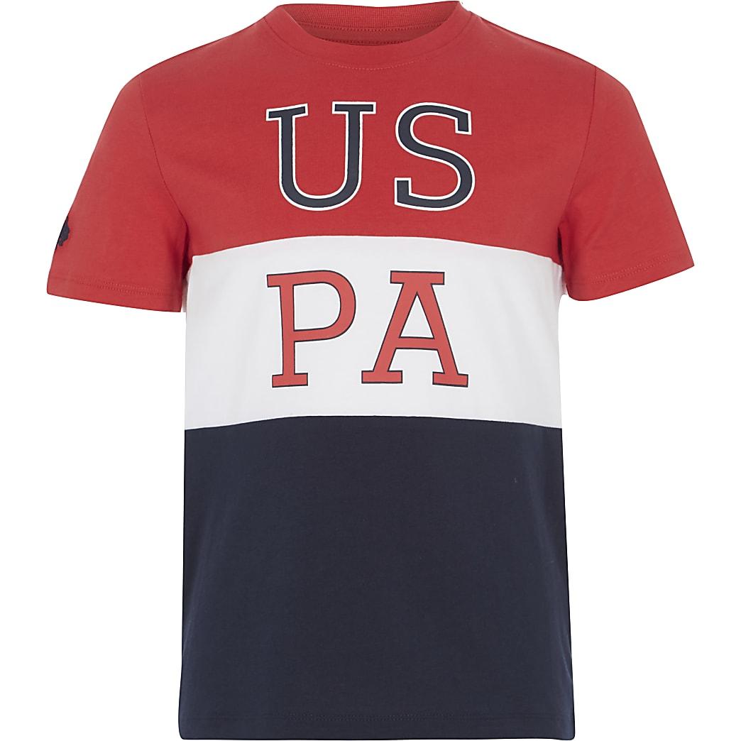 U.S. Polo Assn. – T-shirt colour block rouge pour garçon