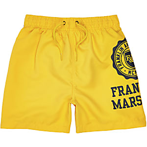 Boys yellow Franklin & Marshall swim shorts