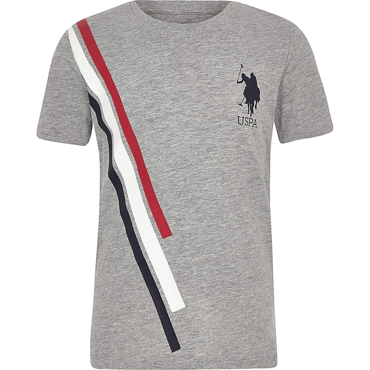 Boys grey U.S. Polo Assn. stripe T-shirt