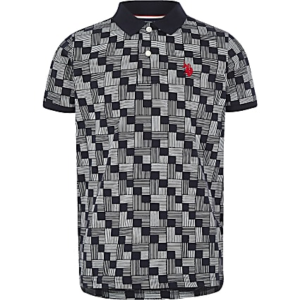 Boys navy U.S. Polo Assn. print polo shirt
