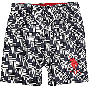 Boys blue U.S. Polo Assn. geo swim trunks