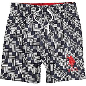 U.S. Polo Assn. – Short de bain à imprimé géométrique bleu pour garçon