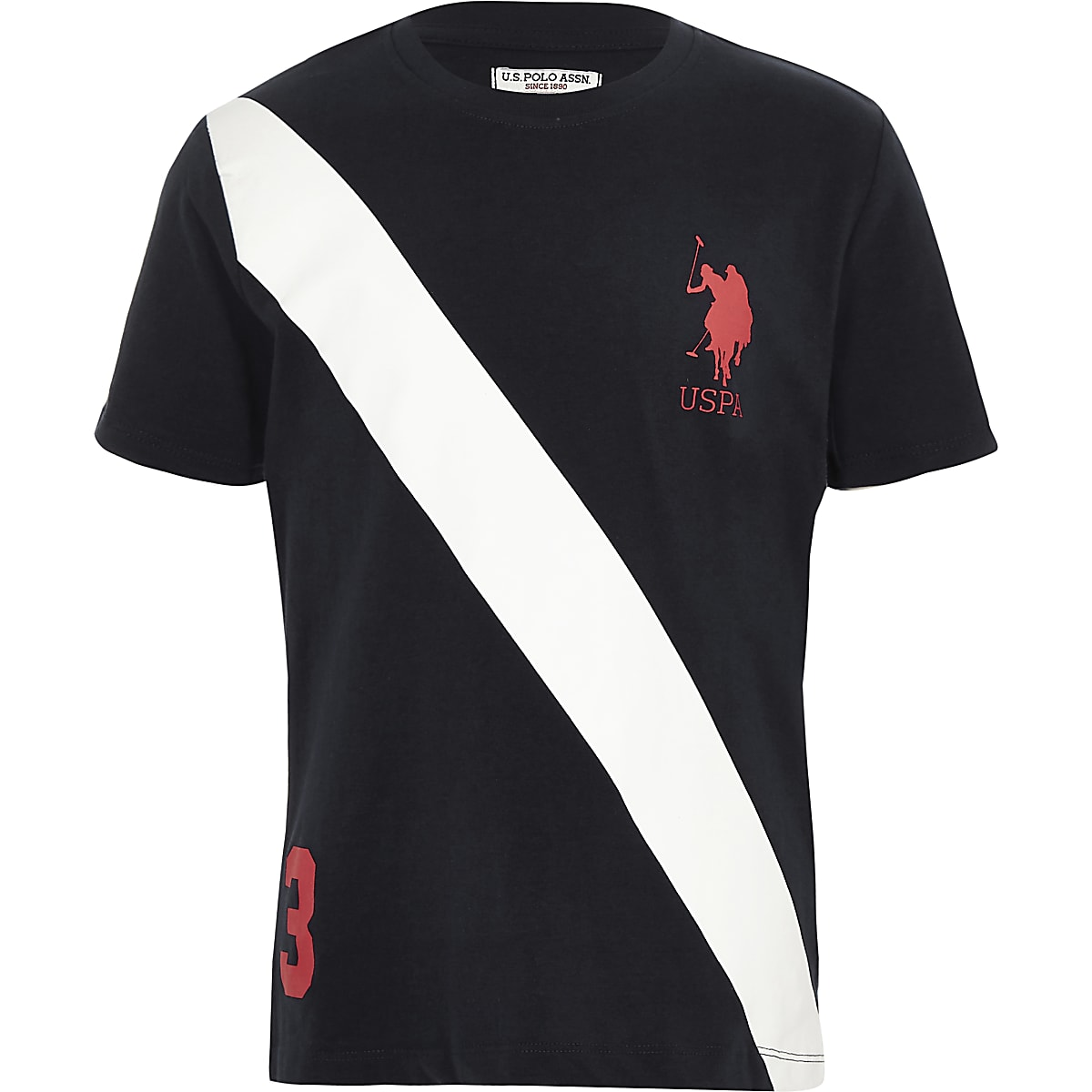 Boys navy U.S. Polo Assn. stripe T-shirt